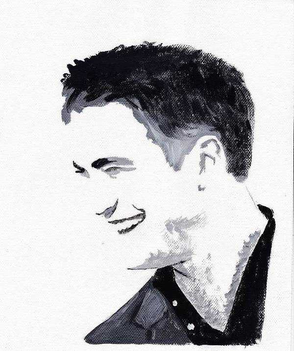 Robert Pattinson Famous Faces Actor Movies Filmstar Popular People Paints Acrylic Canvas Poster featuring the painting Robert Pattinson 183 by Audrey Pollitt