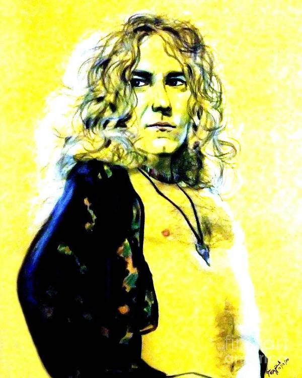 Robert Plant Poster featuring the drawing Robert Plant Of Led Zeppelin  by Jim Fitzpatrick
