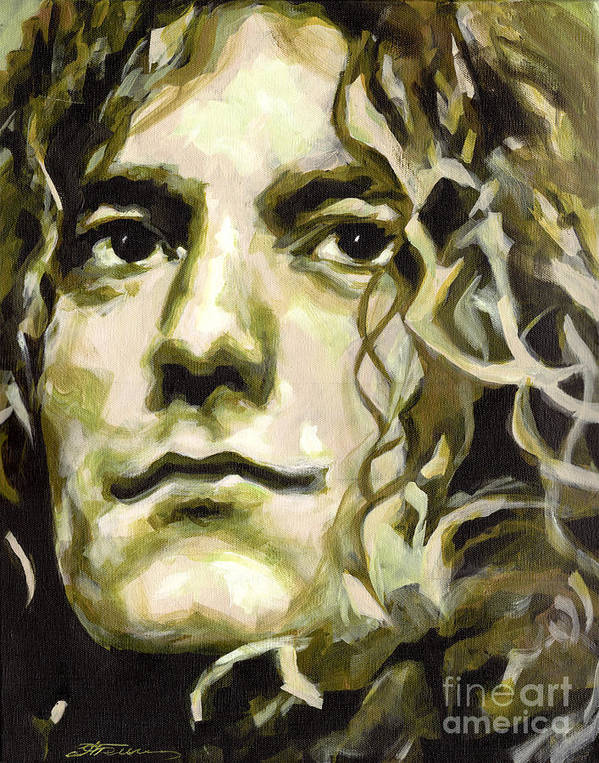 Tanya Poster featuring the painting Robert Plant. Golden God by Tanya Filichkin