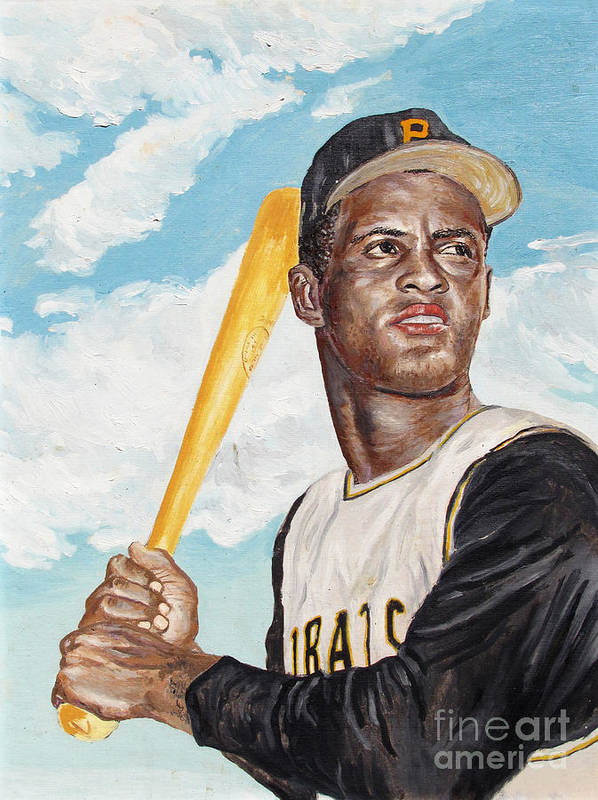 Portrait Poster featuring the painting Roberto Clemente by Philip Lee