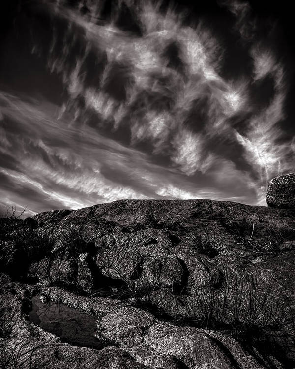 Nature Poster featuring the photograph Rocks Clouds Water by Bob Orsillo