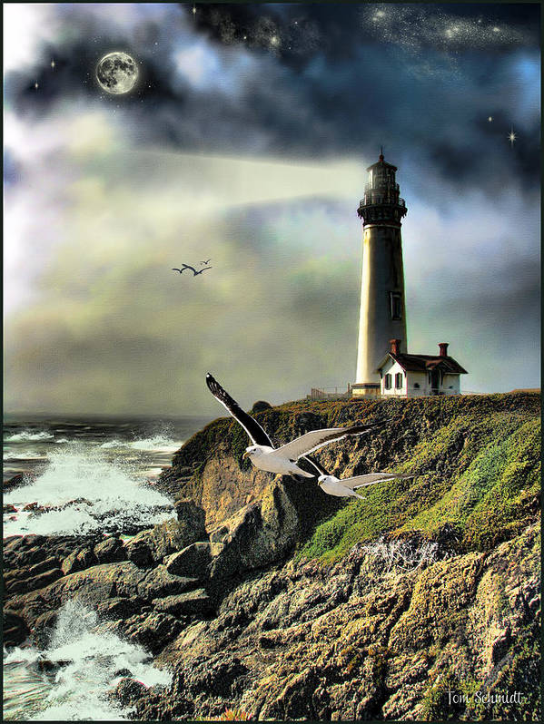 Light Houses Poster featuring the painting Rocky Shores by Tom Schmidt