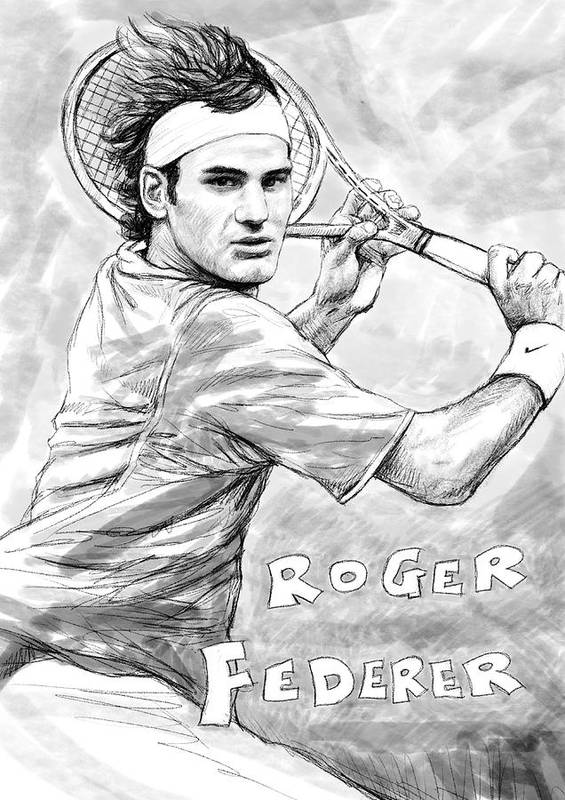 Roger Federer Art Drawing Sketch Portrait Poster featuring the painting Roger Federer Art Drawing Sketch Portrait by Kim Wang