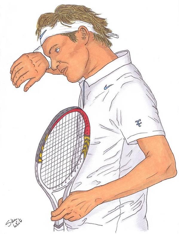 Roger Federer Poster featuring the drawing Roger Federer by Steven White