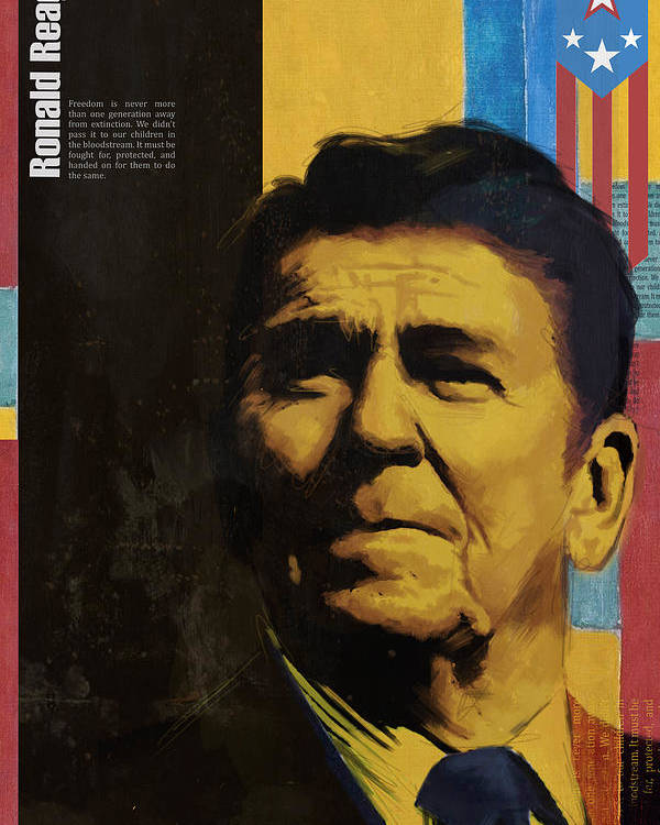 Ronald Reagan Poster featuring the painting Ronald Reagan by Corporate Art Task Force