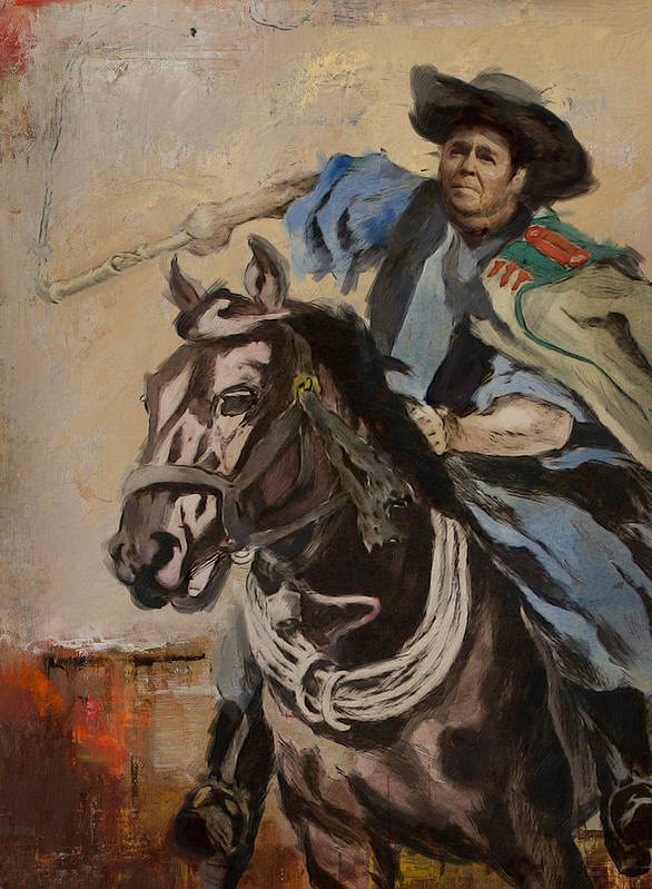 Rancho Del Cielo Poster featuring the painting Ronald Reagan Portrait 3 by Corporate Art Task Force