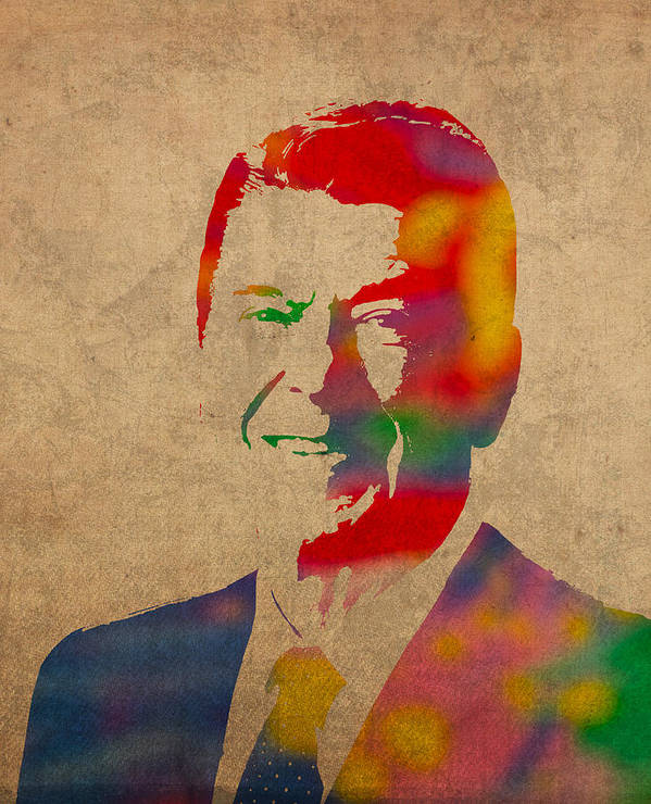 Ronald Reagan President 1980s Usa Watercolor Portrait On Worn Distressed Canvas Poster featuring the mixed media Ronald Reagan Watercolor Portrait On Worn Distressed Canvas by Design Turnpike