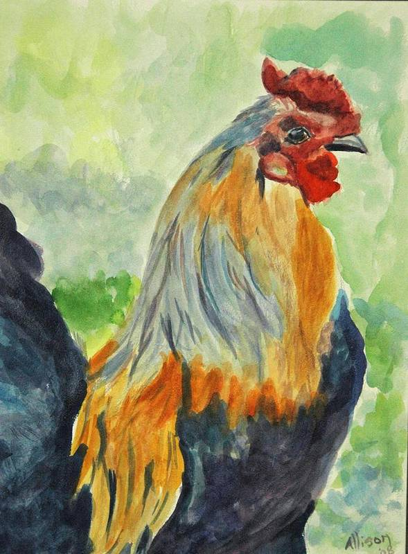 Animals Poster featuring the painting Rooster by Stephanie Allison