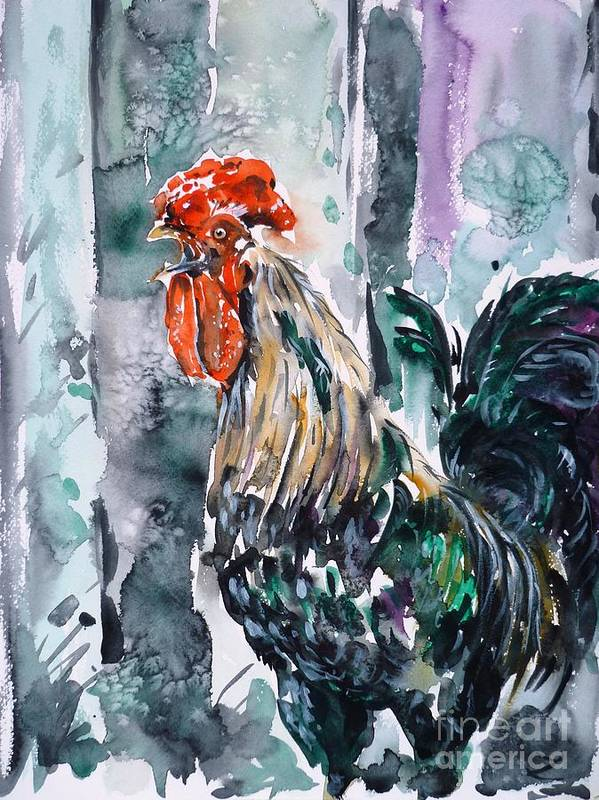 Cock Poster featuring the painting Rooster by Zaira Dzhaubaeva