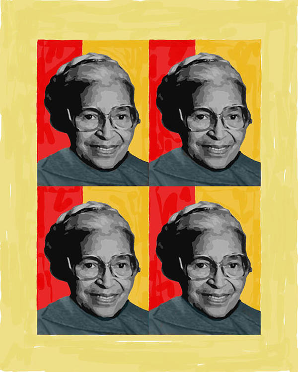 People Poster featuring the pyrography Rosa Parks X4 by Lawrence Hubbs