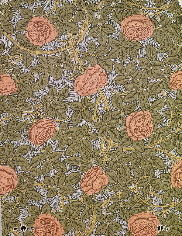Arts And Crafts Movement Poster featuring the tapestry - textile Rose 93 Wallpaper Design by William Morris