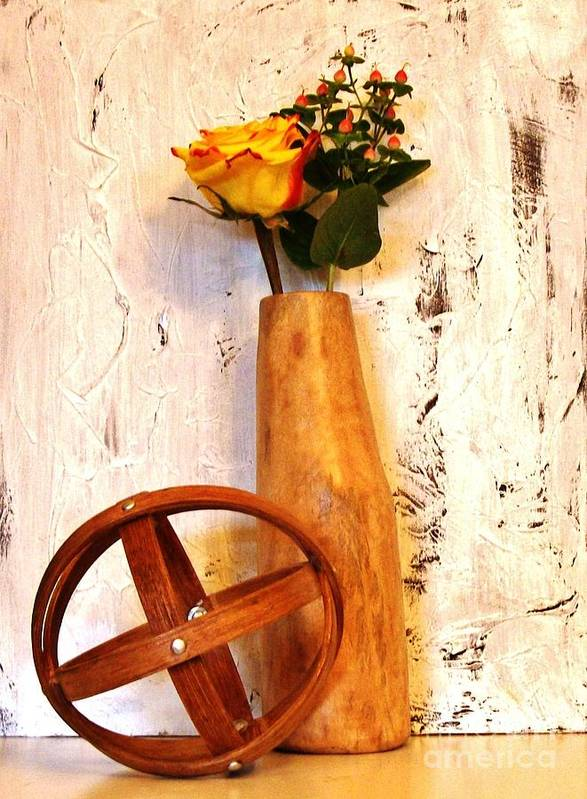 Photo Poster featuring the photograph Rose Sphere And Mango Wood Vase by Marsha Heiken