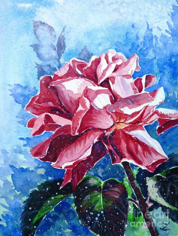 Rose Poster featuring the painting Rose by Zaira Dzhaubaeva