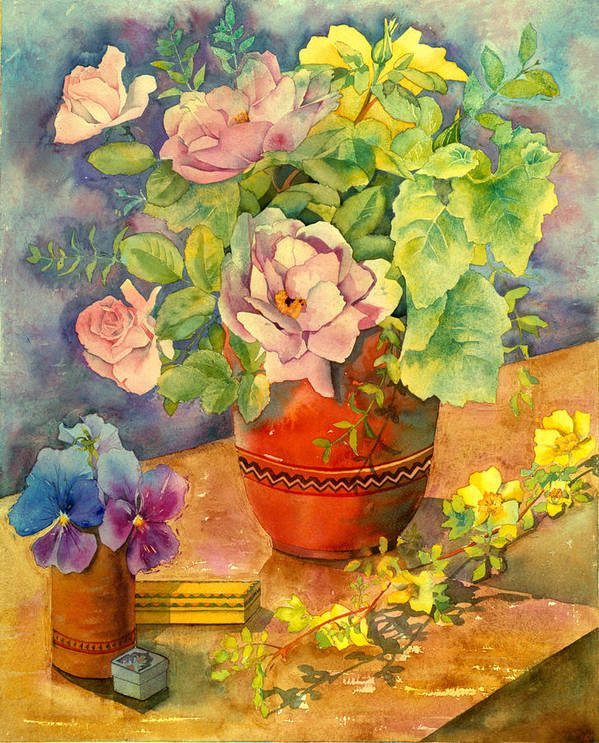 Julia Rowntree Poster featuring the photograph Roses And Pansies by Julia Rowntree