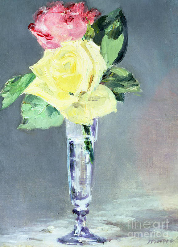 Still-life Poster featuring the painting Roses In A Champagne Glass by Edouard Manet