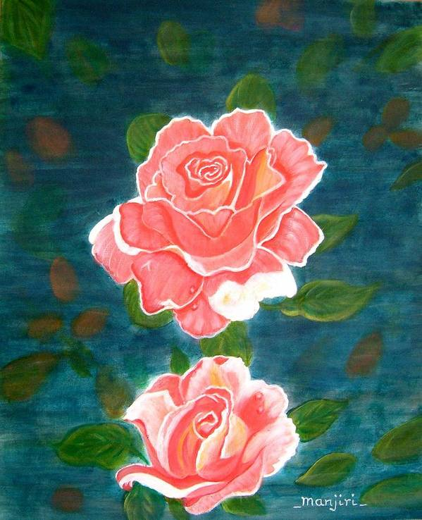 Rose Poster featuring the painting Roses by Manjiri Kanvinde