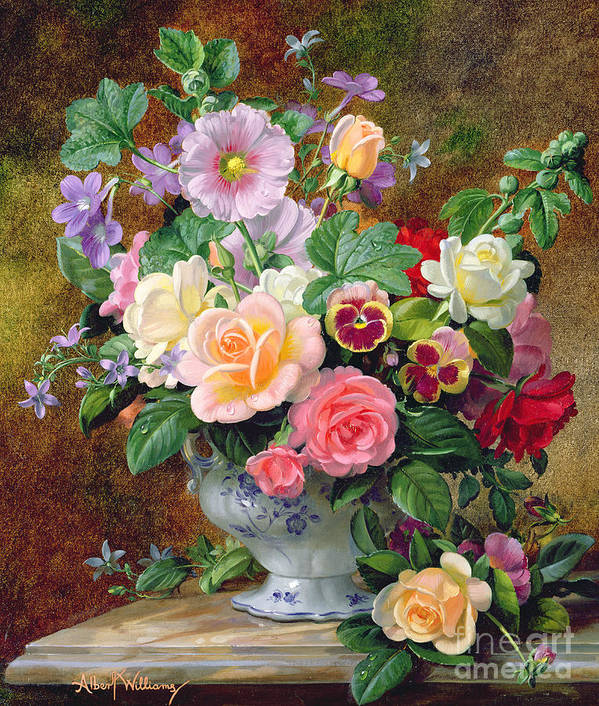 Still-life Poster featuring the painting Roses Pansies And Other Flowers In A Vase by Albert Williams
