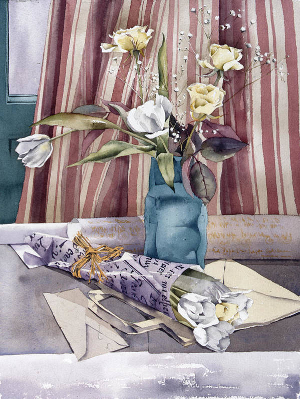 Julia Rowntree Poster featuring the photograph Roses Tulips And Striped Curtains by Julia Rowntree