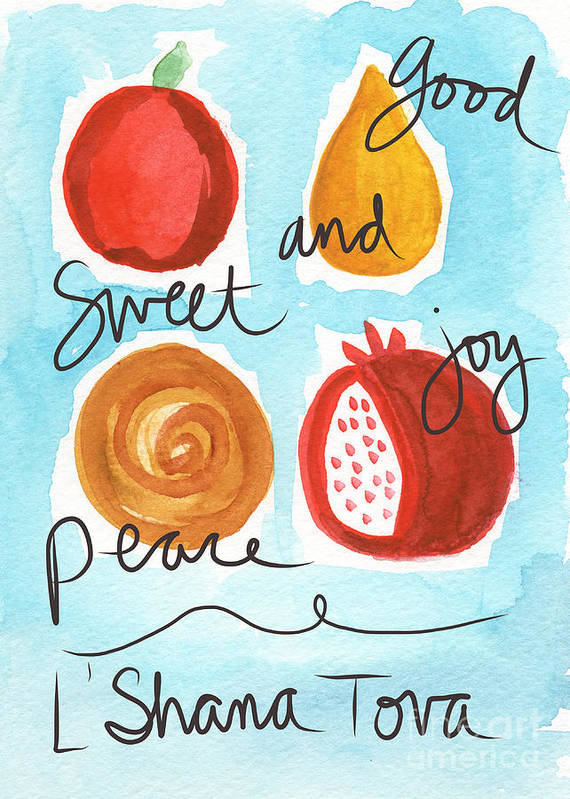 Rosh Hashana Poster featuring the painting Rosh Hashanah Blessings by Linda Woods