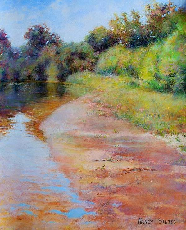 Rivers Poster featuring the painting Rosy River by Nancy Stutes