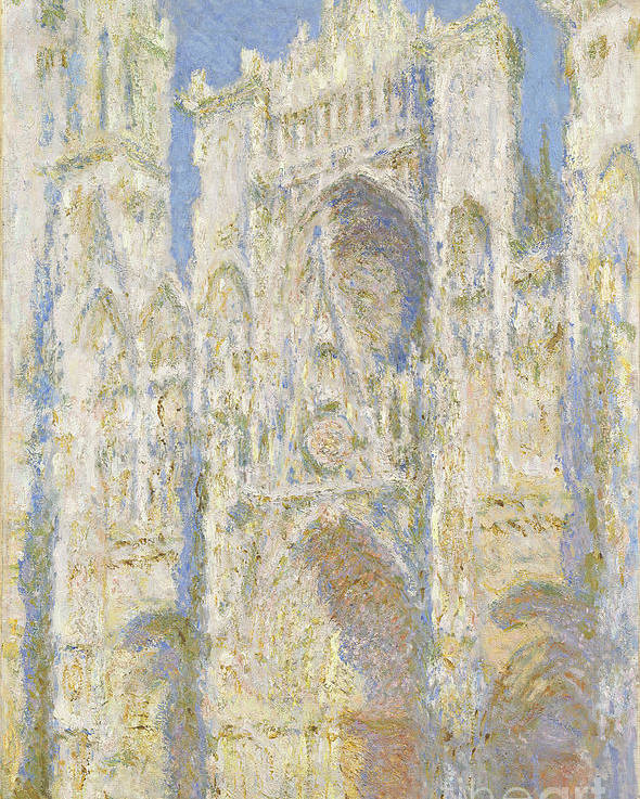 Impressionist; Church; Gothic; Sun; Portal; Porch; Portico; Ouest; Soleil; Ensoleille Poster featuring the painting Rouen Cathedral West Facade by Claude Monet