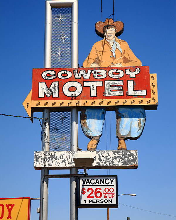 66 Poster featuring the photograph Route 66 - Cowboy Motel by Frank Romeo