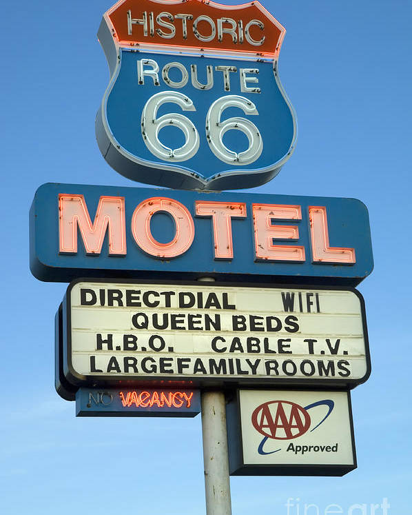 Flames Poster featuring the photograph Route 66 Motel Sign 3 by Bob Christopher