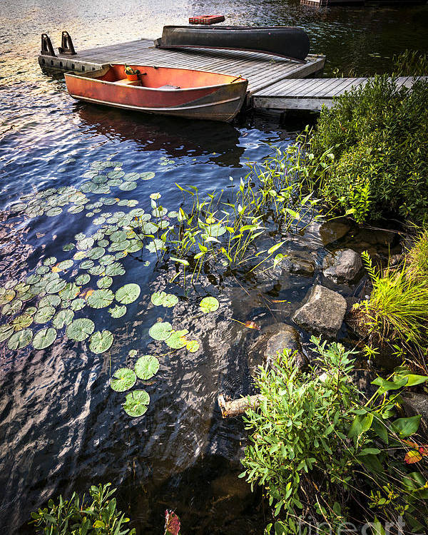 Boat Poster featuring the photograph Rowboat At Lake Shore by Elena Elisseeva