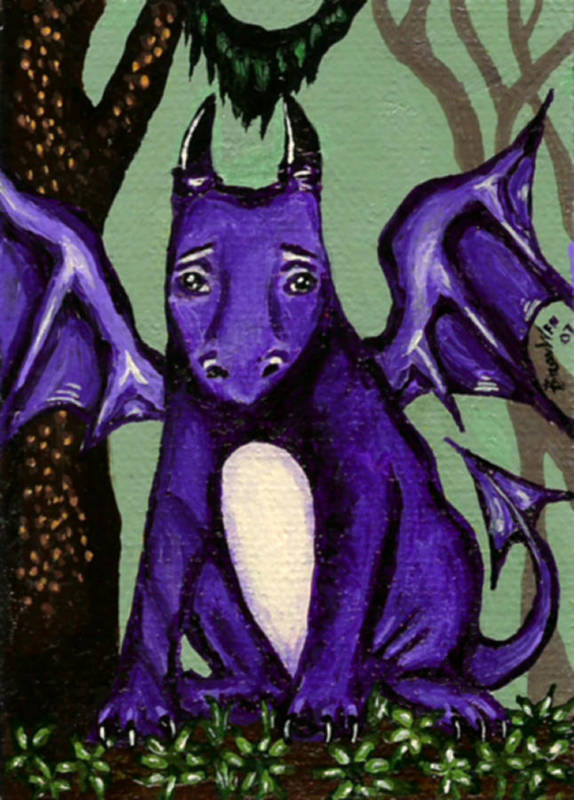 Dragon Poster featuring the painting Royal Amethyst Dragon Pup by Bronwen Skye