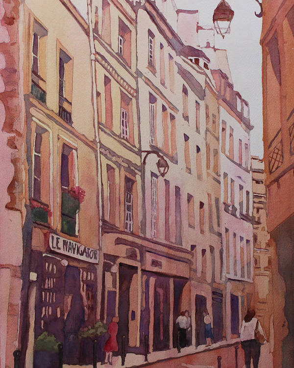 Rue Galande Poster featuring the painting Rue Galande by Jenny Armitage