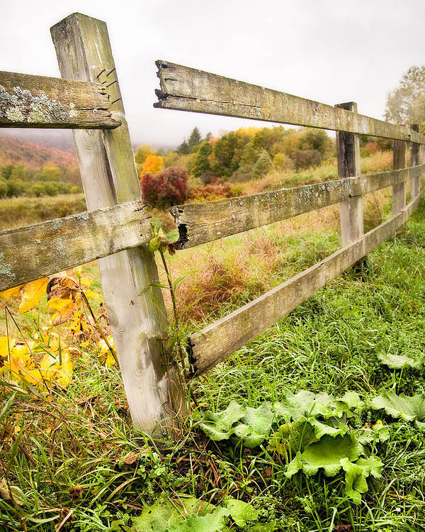 Autumn Landscape Poster featuring the photograph Rustic Landscapes - Broken Fence by Gary Heller