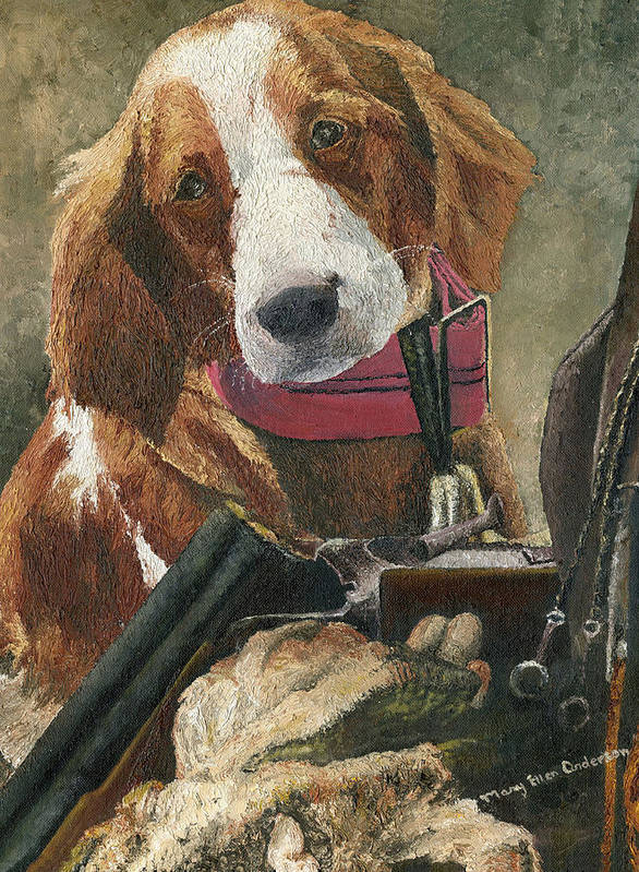 Animal Poster featuring the painting Rusty - A Hunting Dog by Mary Ellen Anderson