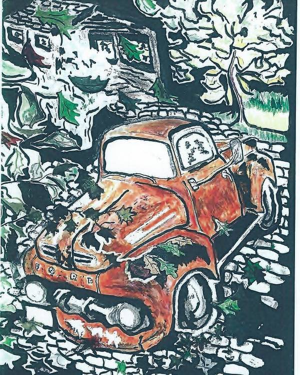 Truck Time Forgot Poster featuring the drawing Rusty Truck by Richard Mangino