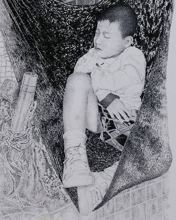 Tot Child Sleeping Boy Poster featuring the painting Safety Net by Tony Ruggiero