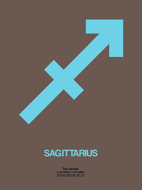 Sagittarius Poster featuring the digital art Sagittarius Zodiac Sign Blue by Naxart Studio