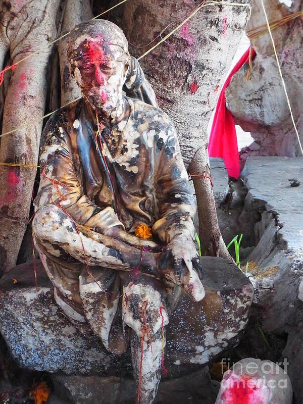 Sai Baba Of Shirdi Poster featuring the photograph Sai Baba - Resting At Pushkar by Agnieszka Ledwon