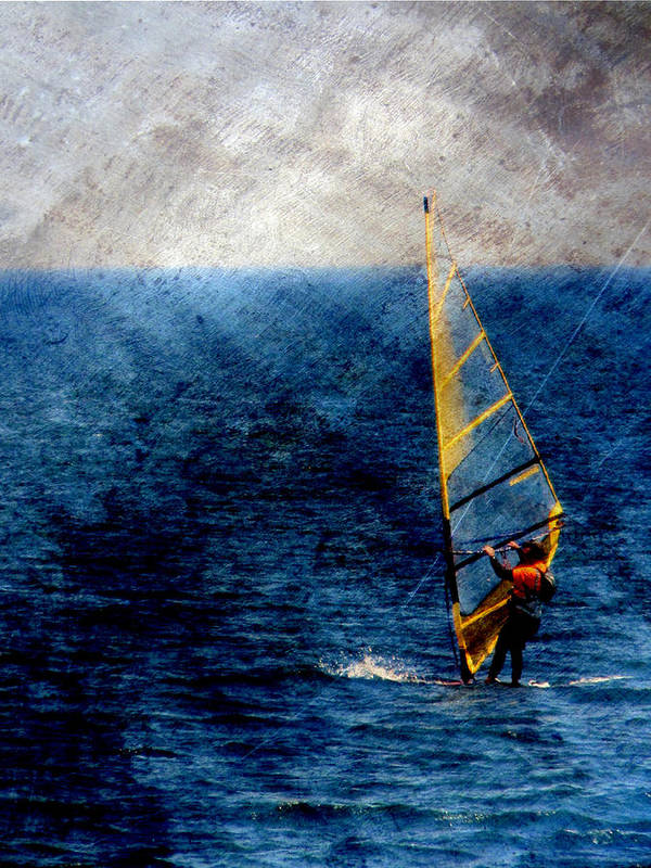 Lake Michigan Poster featuring the digital art Sailboarding W Metal by Anita Burgermeister