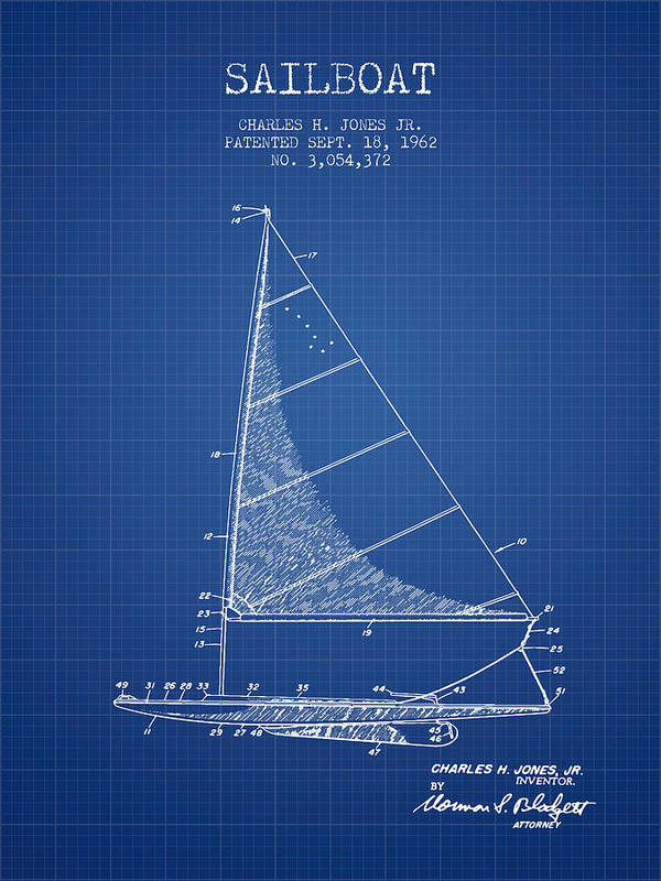 Sailboat patent from 1962 blueprint poster by aged pixel sailing poster featuring the digital art sailboat patent from 1962 blueprint by aged pixel malvernweather Gallery