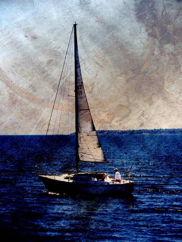 Lake Michigan Poster featuring the digital art Sailboat Slow W Metal by Anita Burgermeister
