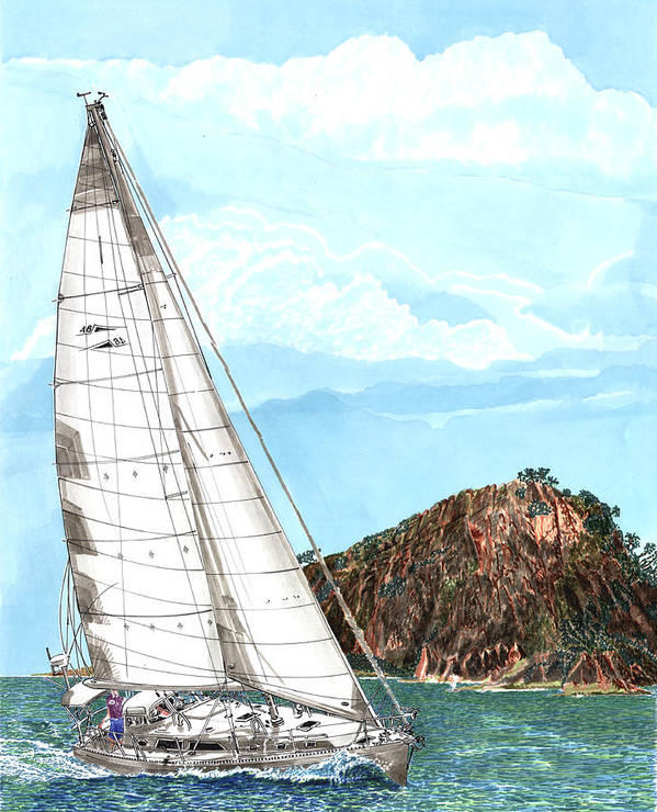Prints Of Sailing Yachts Will Look Good In Your Office Or Den Poster featuring the painting Bay Of Islands Sailing Sailing by Jack Pumphrey