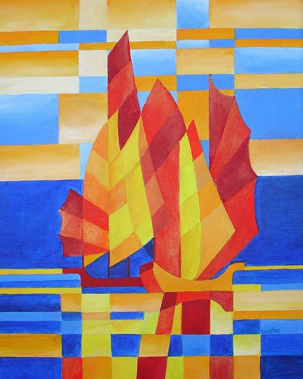 Sailboat Poster featuring the painting Sailing On The Seven Seas So Blue by Tracey Harrington-Simpson