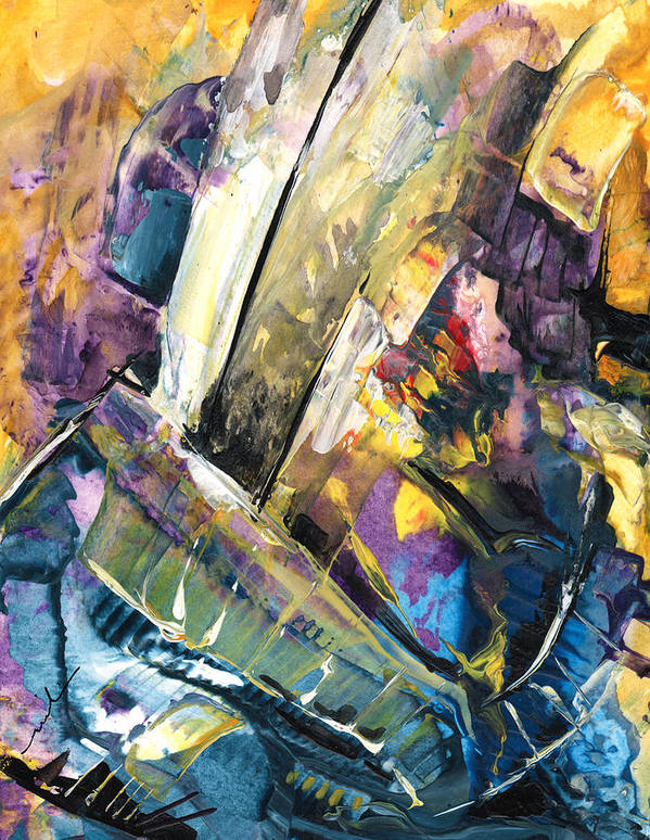 Abstract Poster featuring the painting Sailing To Atlantis by Miki De Goodaboom