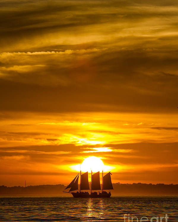 Sailing Yacht Schooner Pride Sunset Poster featuring the photograph Sailing Yacht Schooner Pride Sunset by Dustin K Ryan