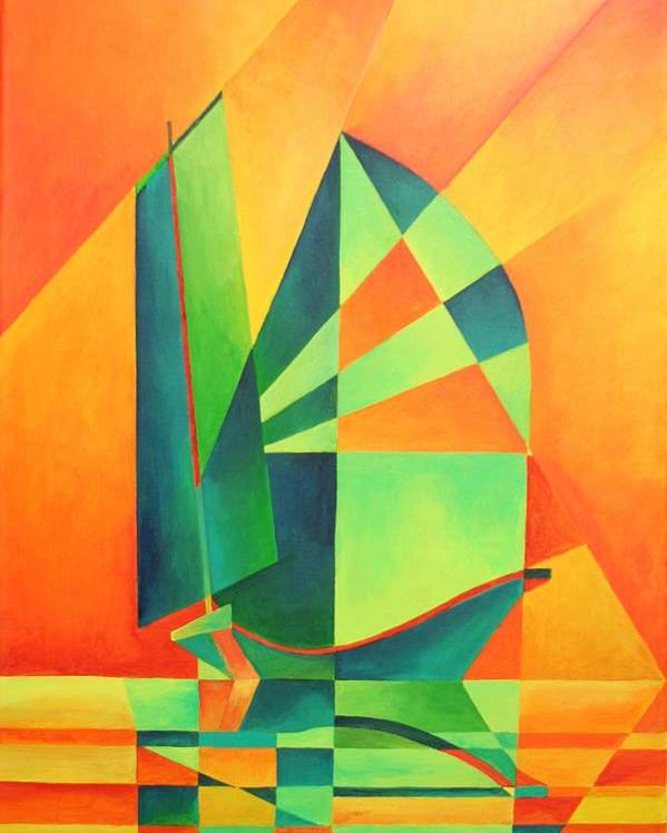 Sailboat Poster featuring the painting Sails At Sunrise by Tracey Harrington-Simpson