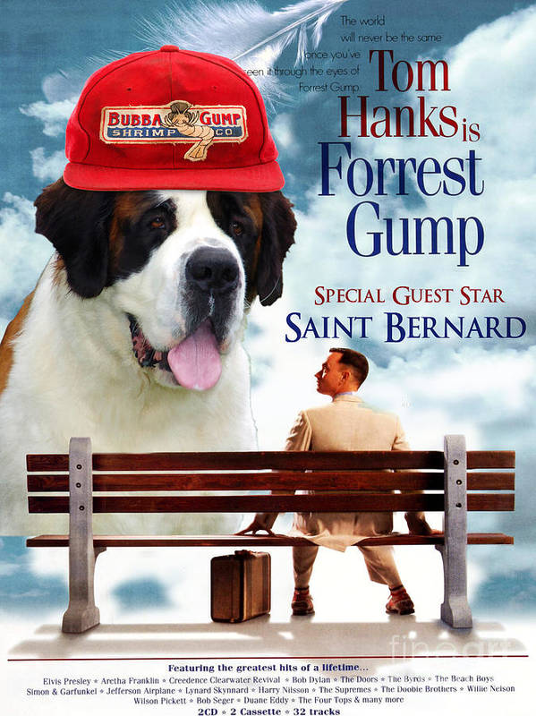 Saint Bernard Art Canvas Print - Forrest Gump Movie Poster Poster