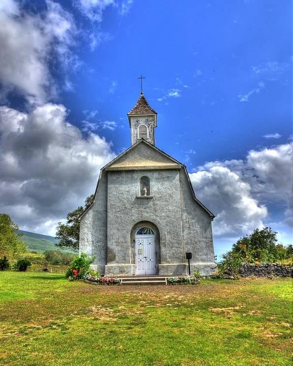 Church Poster featuring the photograph Saint Joeseph's Church Maui Hawaii by Puget Exposure