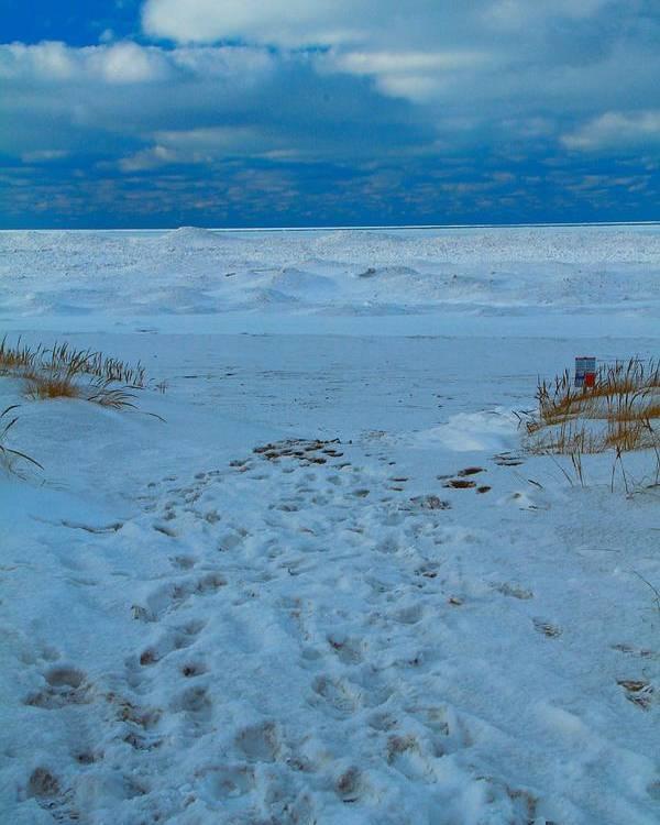Saint Joseph Michigan Beach In Winter Poster featuring the photograph Saint Joseph Michigan Beach In Winter by Dan Sproul