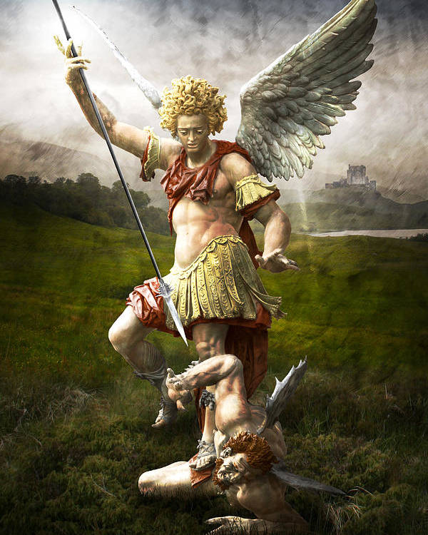Angel Poster featuring the photograph Saint Michael's Triumpf by Marc Huebner