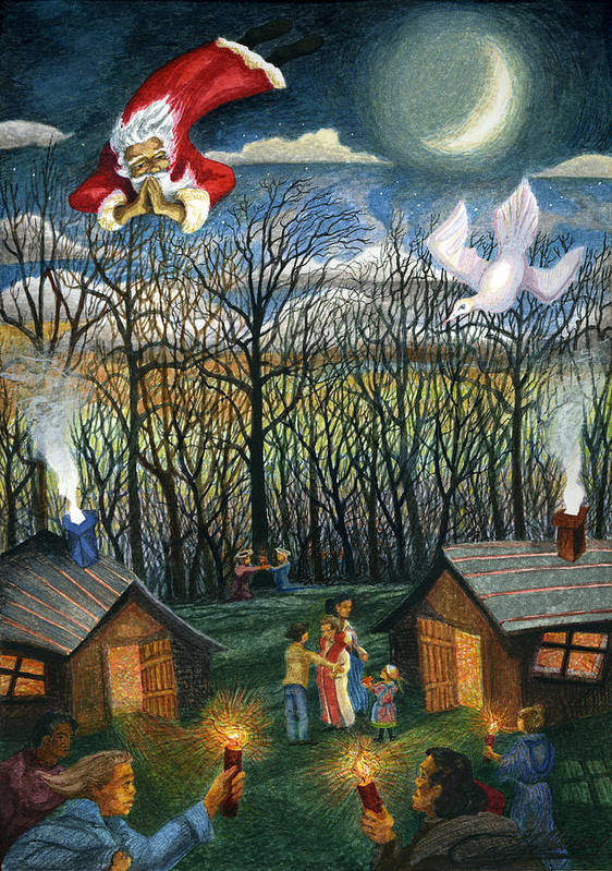 Christmas Poster featuring the painting Saint Nicholas Praying For The Recovery Of His Tradition by Craig Gallaway