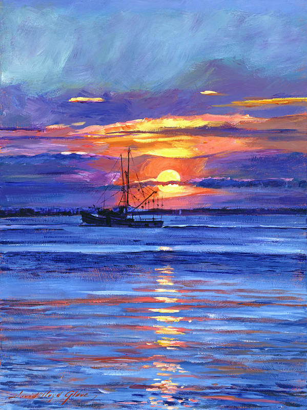 Impressionist Poster featuring the painting Salmon Trawler At Sunrise by David Lloyd Glover